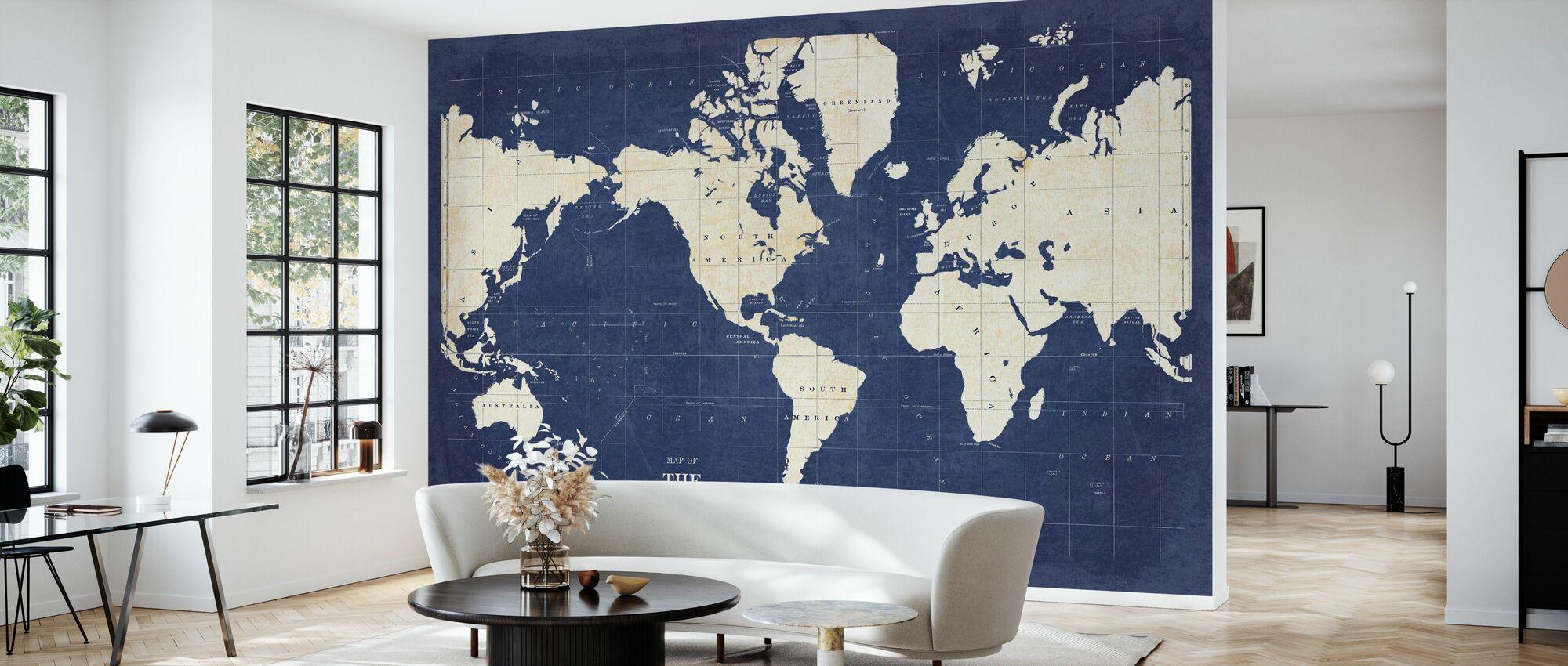 Blueprint World Map - No Border - Wallpaper - Living Room