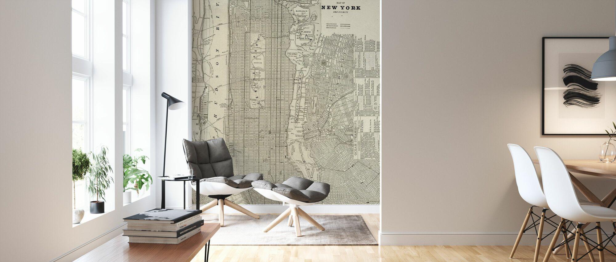 Newsprint NYC Map - Wallpaper - Living Room