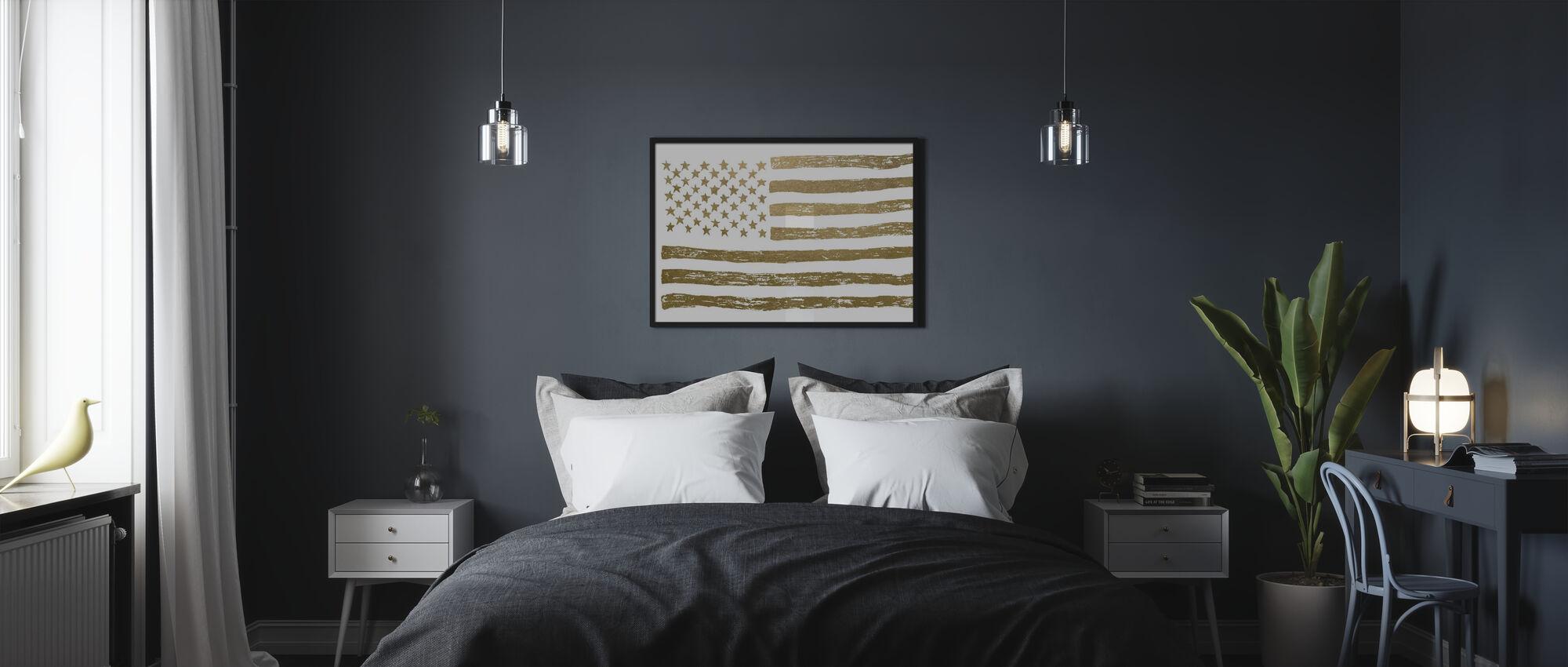 Gold U.S. Flag - Poster - Bedroom