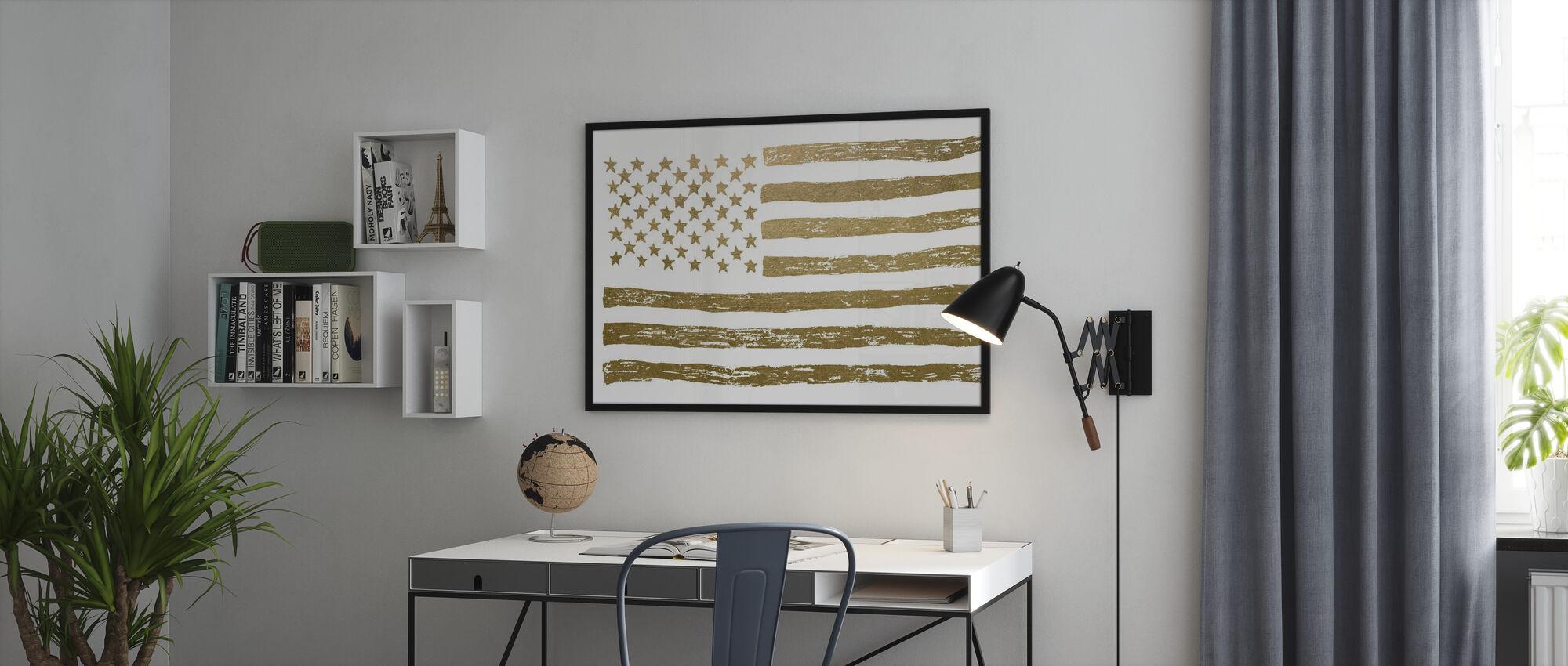 Gold USA: n lippu - Kehystetty kuva - Toimisto