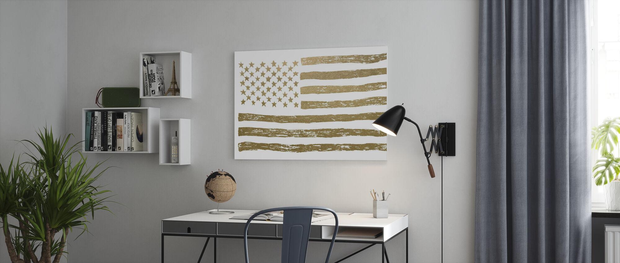 Gold U.S. Flag - Canvas print - Office