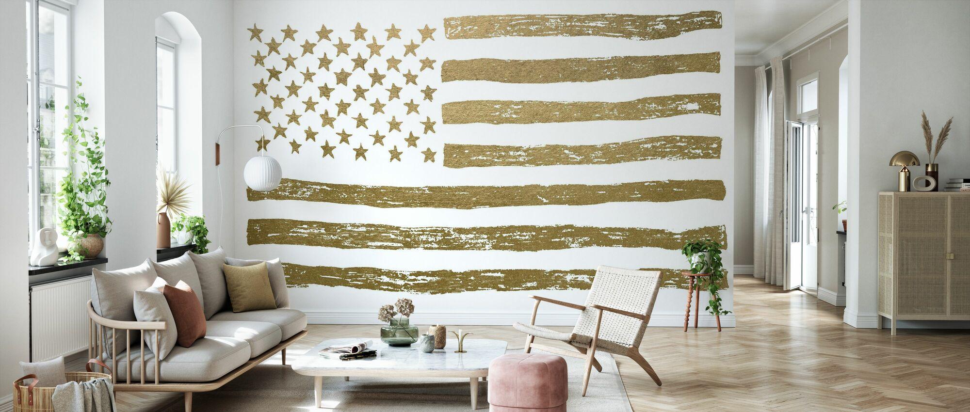 Gold U.S. Flag - Wallpaper - Living Room