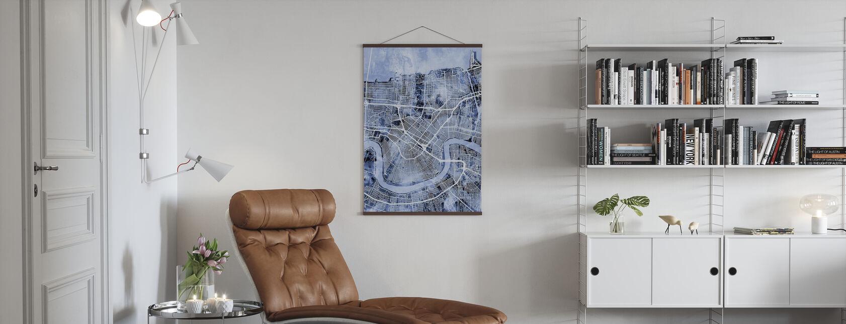 New Orleans Street Kartta - Juliste - Olohuone