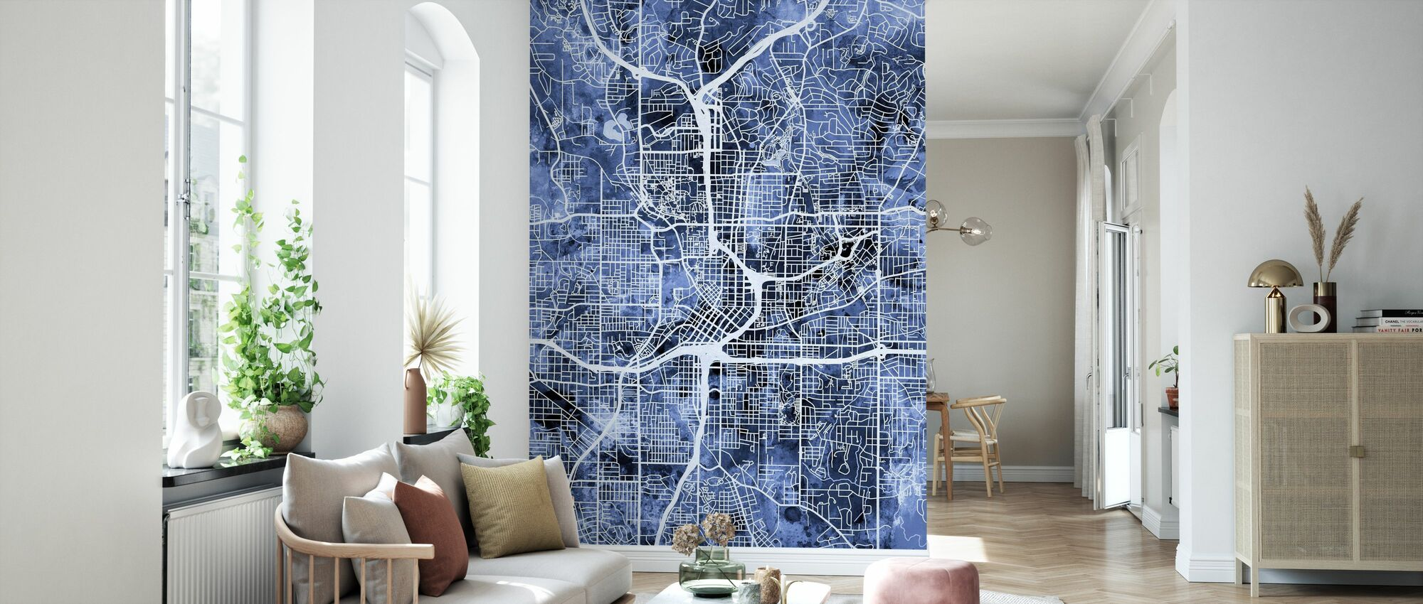 Atlanta Georgia City Map - Wallpaper - Living Room