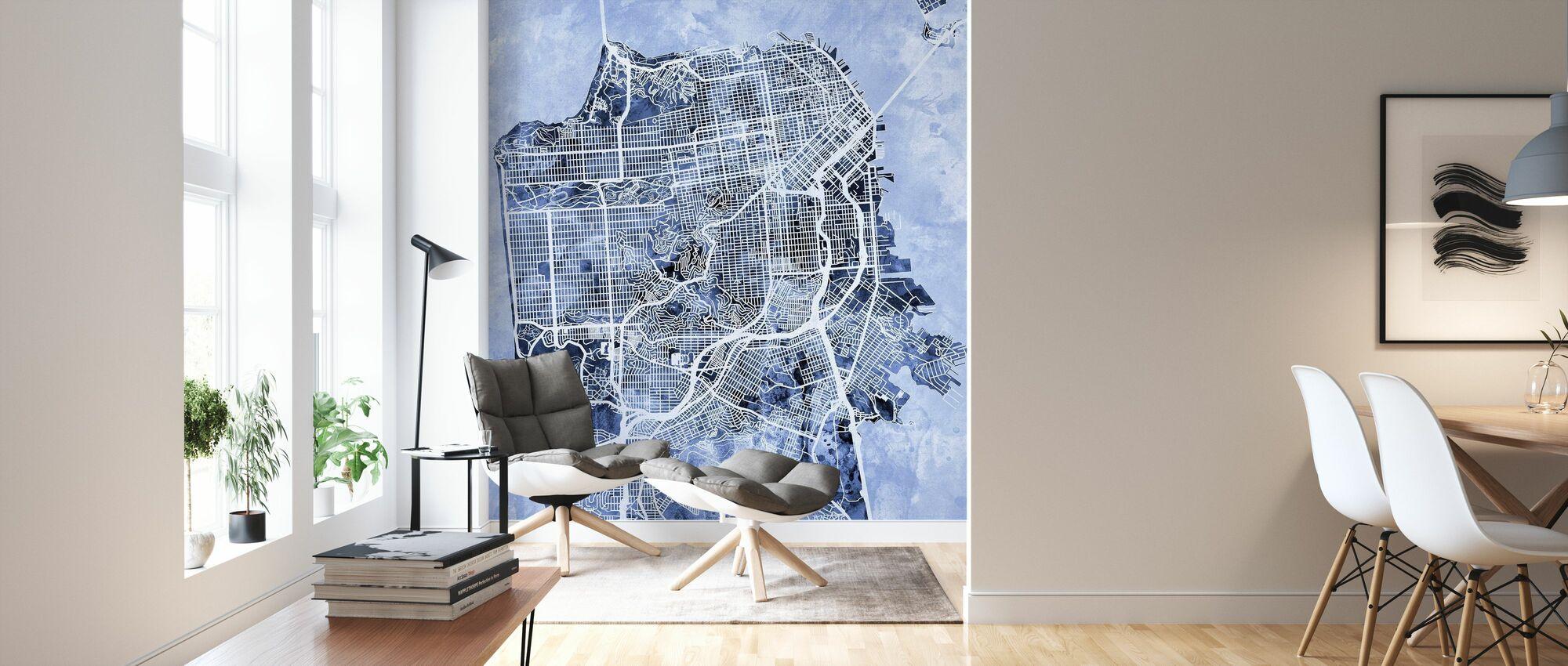 San Francisco City Street Map - Wallpaper - Living Room