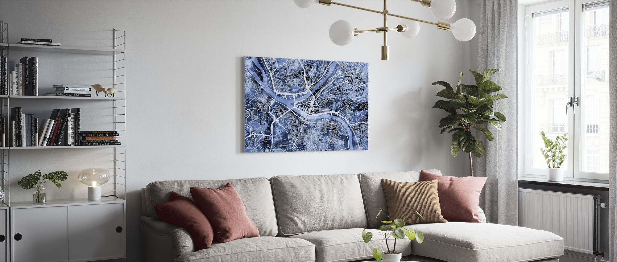 Pittsburgh Pennsylvania Street Map - Canvas print - Living Room