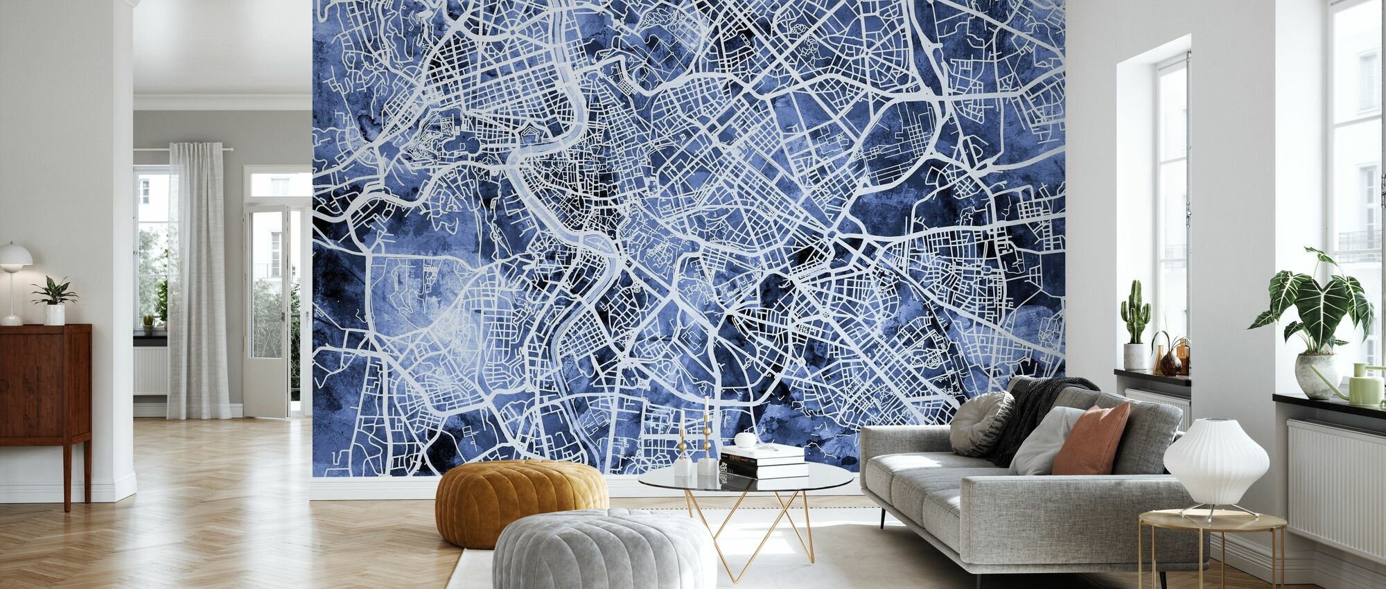 Rome Italy City Street Map - Wallpaper - Living Room