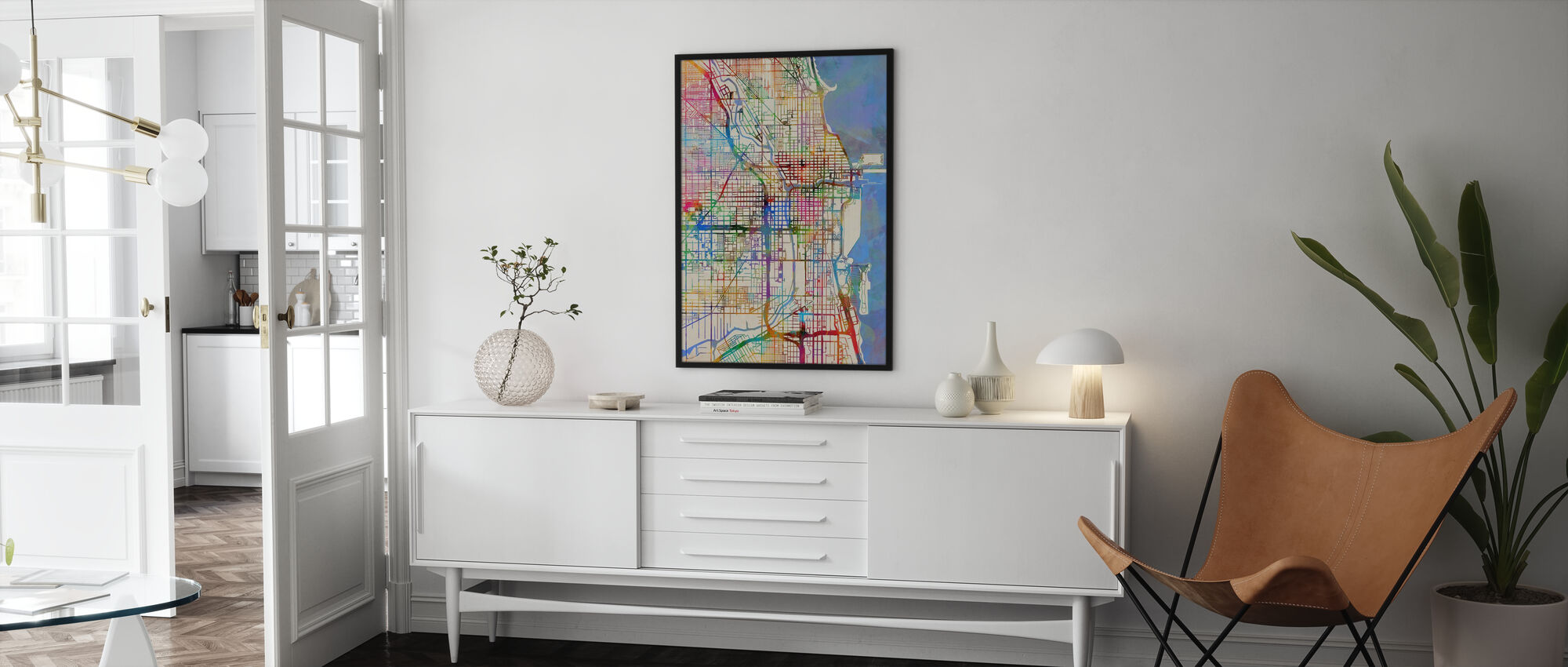 Chicago City Street Map - Poster - Living Room
