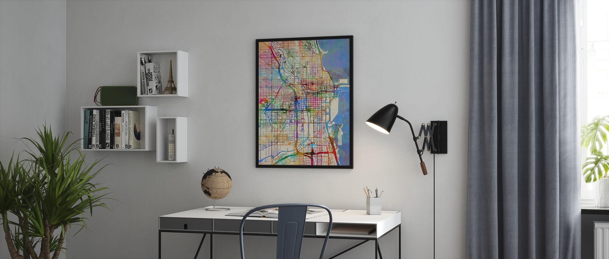 Chicago City Street Map - Framed print - Office