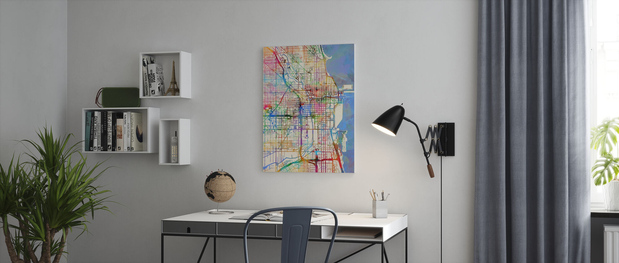 Chicago City Street Map - Canvas print - Office