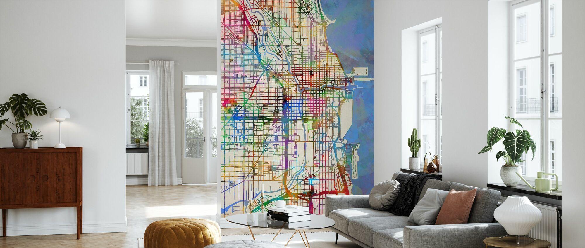 Chicago City Street Kort - Tapet - Stue