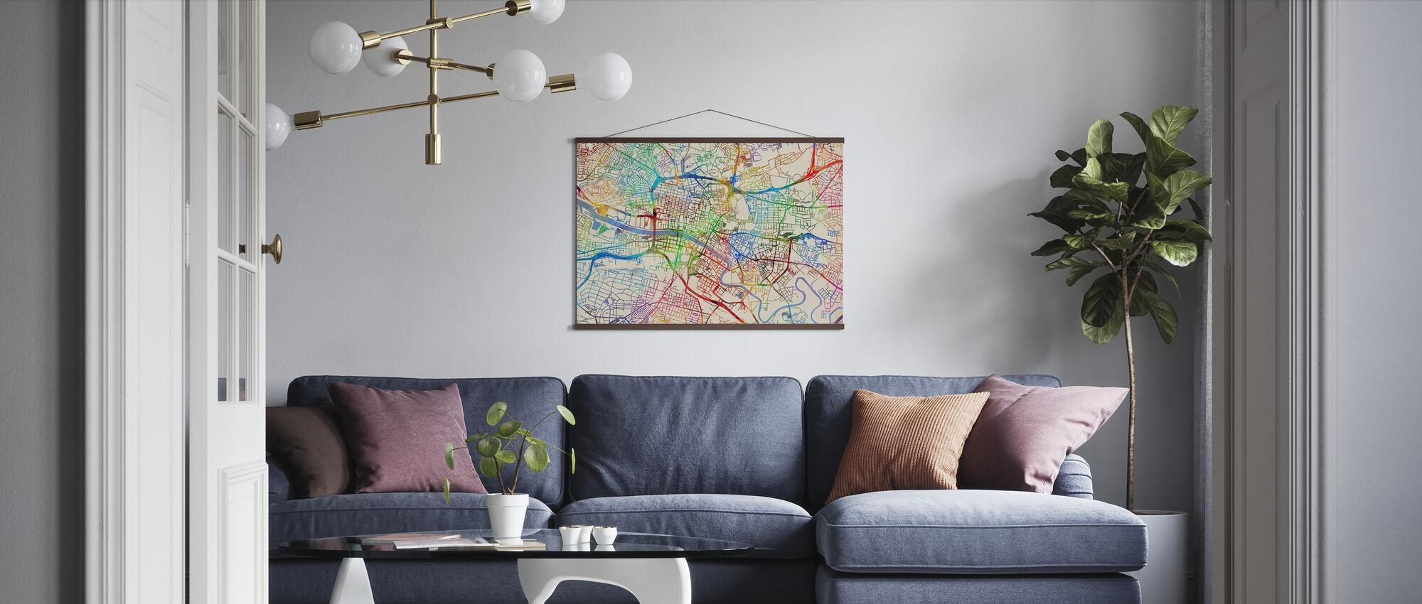 Glasgow Street Map - Poster - Living Room
