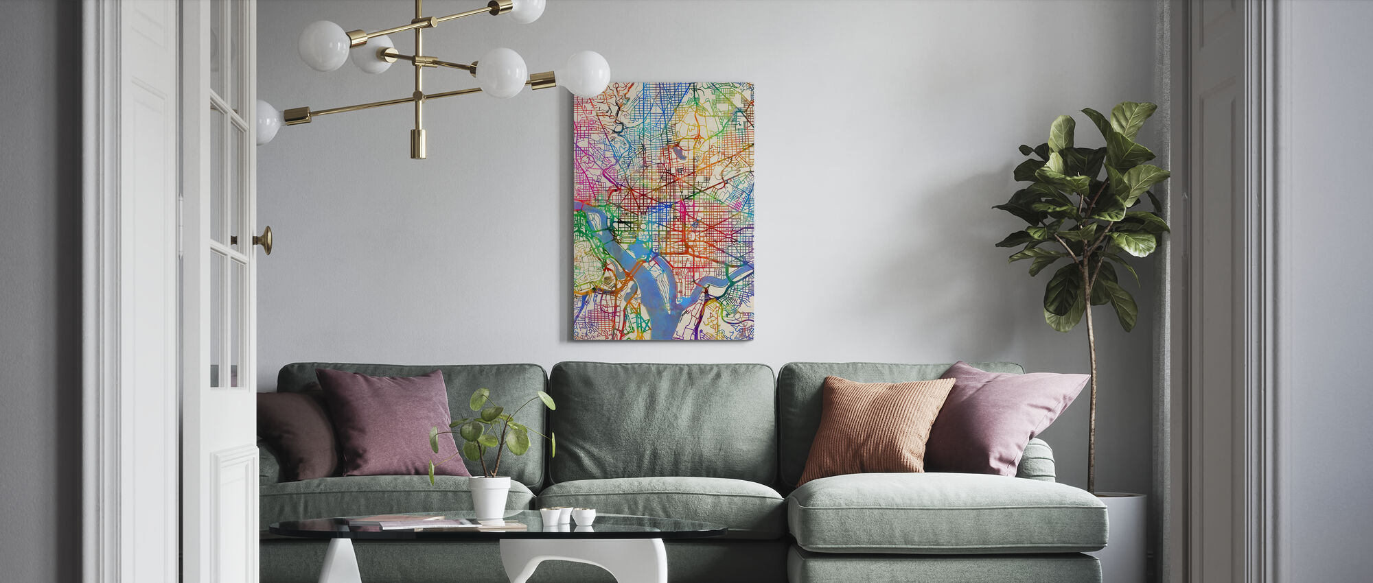 Washington DC Street Map - Canvas print - Living Room