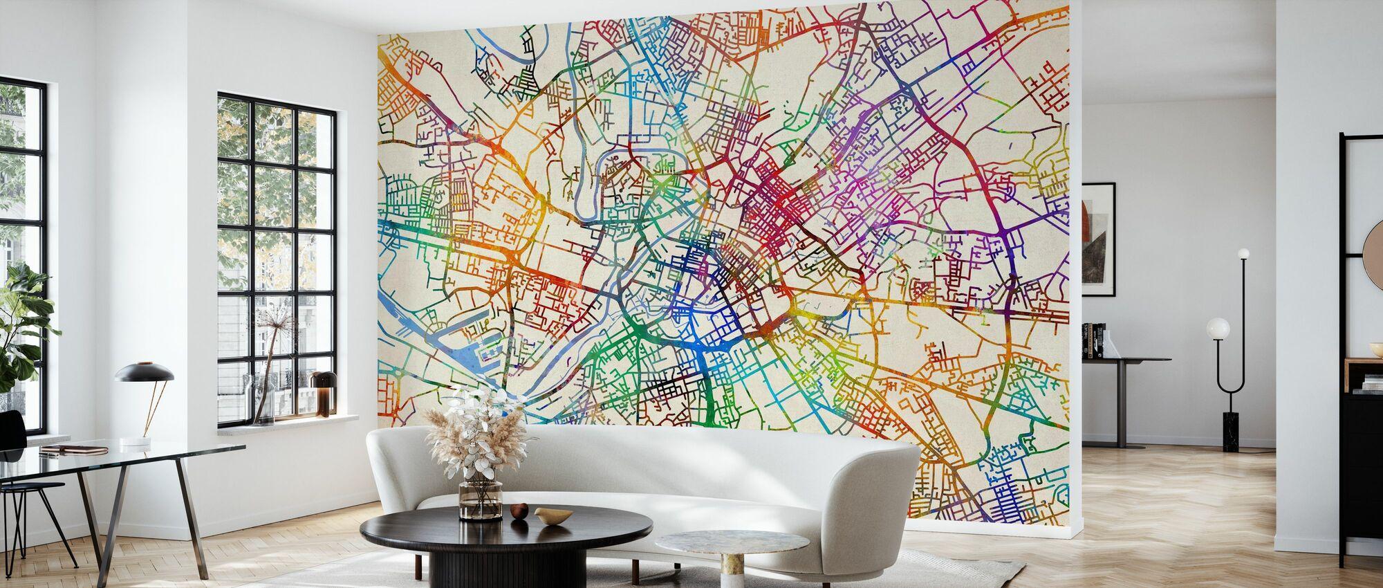 Manchester England Street Map - Wallpaper - Living Room