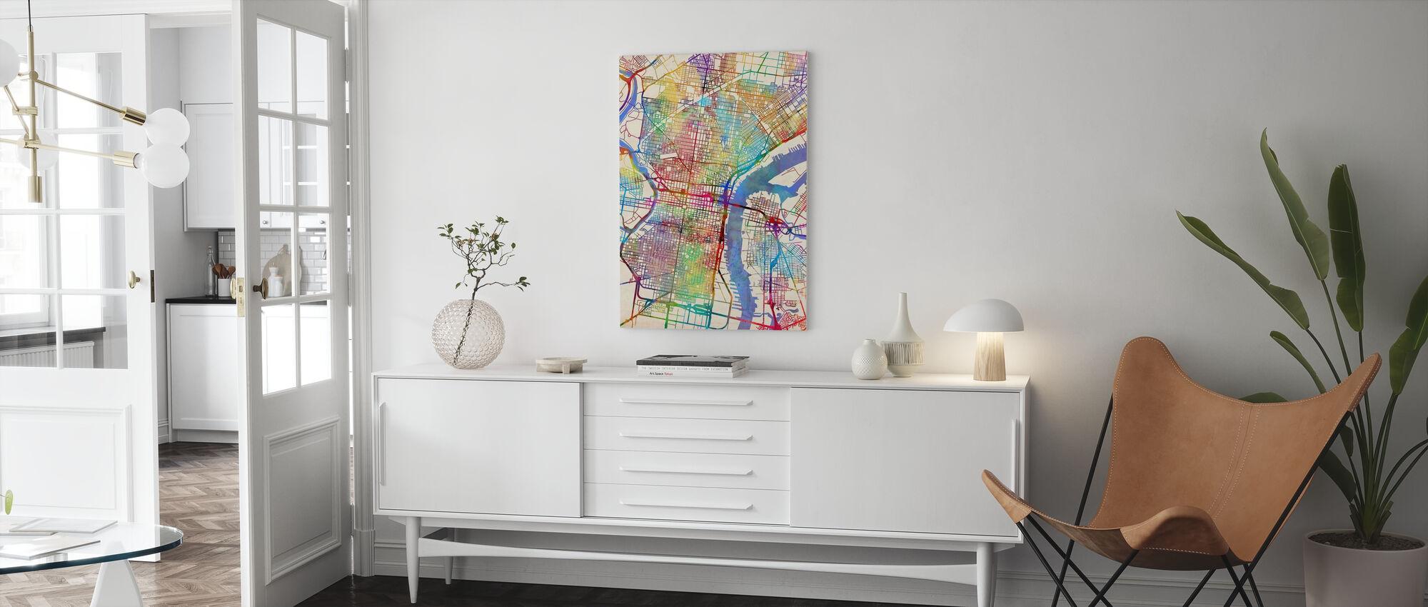 Philadelphia Pennsylvania City Street Map - Canvas print - Living Room