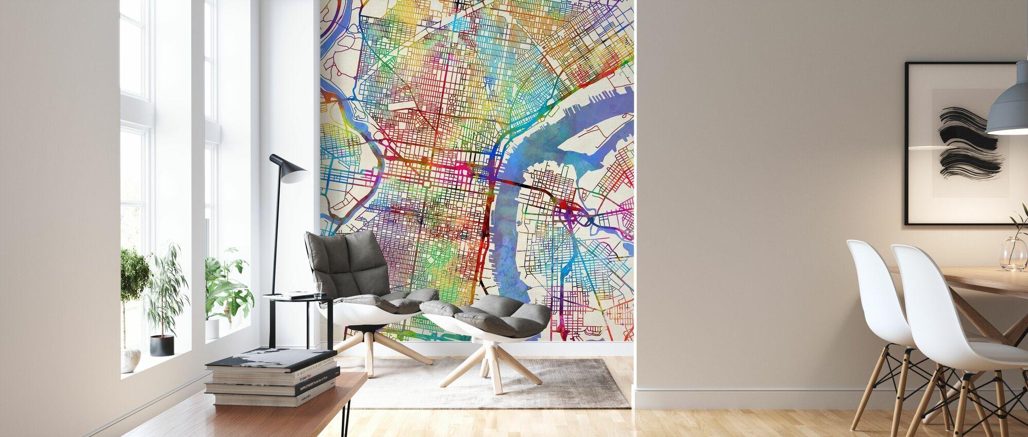 Philadelphia Pennsylvania City Street Map - Wallpaper - Living Room