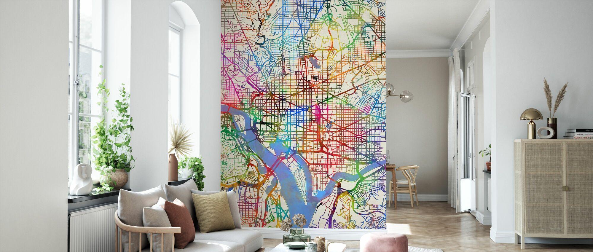 Washington DC Street Map - Wallpaper - Living Room
