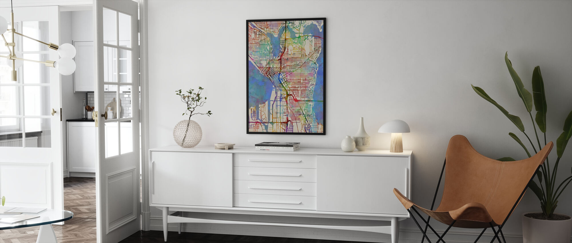Seattle Washington Street Map - Poster - Living Room