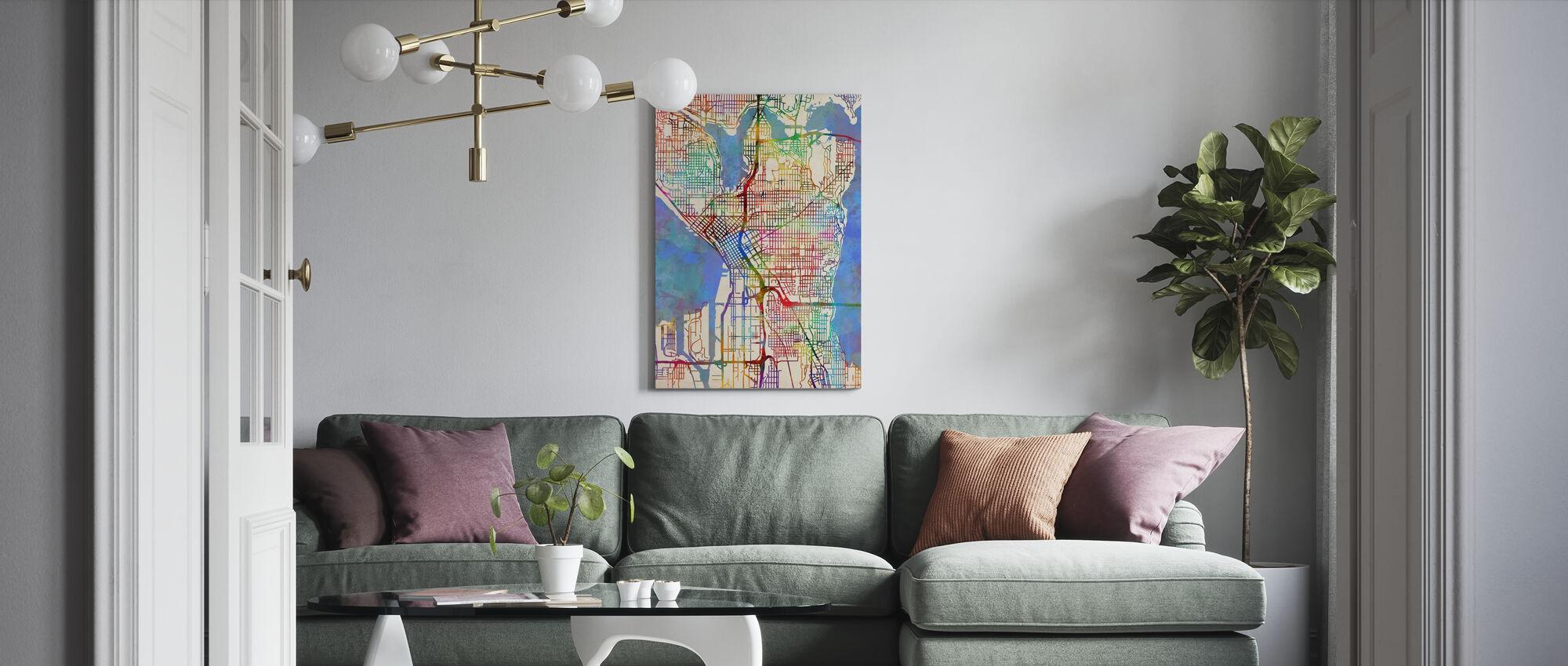 Seattle Washington Street Karta - Canvastavla - Vardagsrum