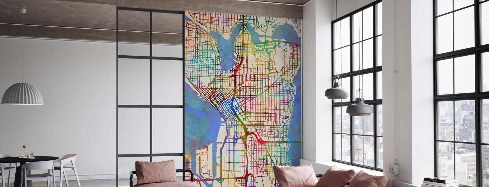 Seattle Washington Street Kaart - Behang - Kantoor