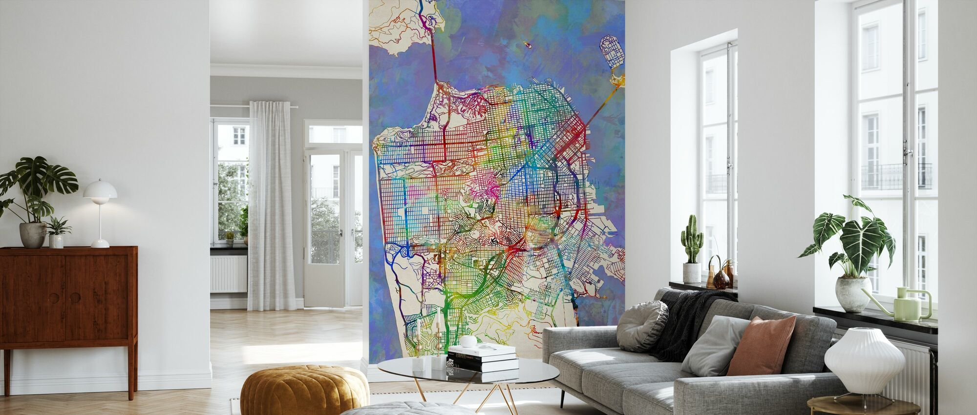 San Francisco City Street Map - Wallpaper - Living Room