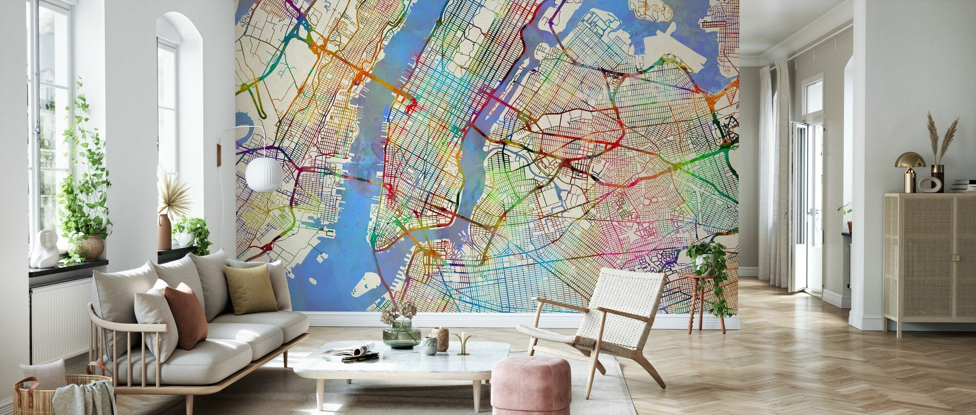New York City Street Map - Wallpaper - Living Room