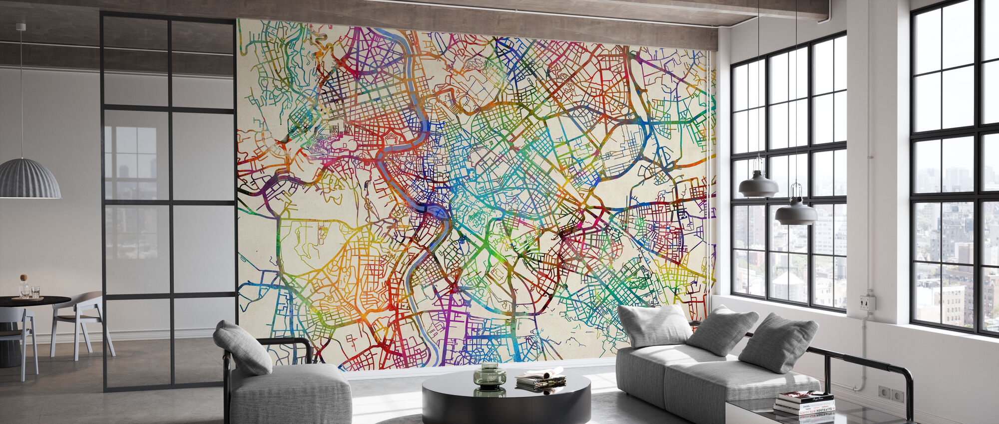 Rome Italy Street Map - Wallpaper - Office