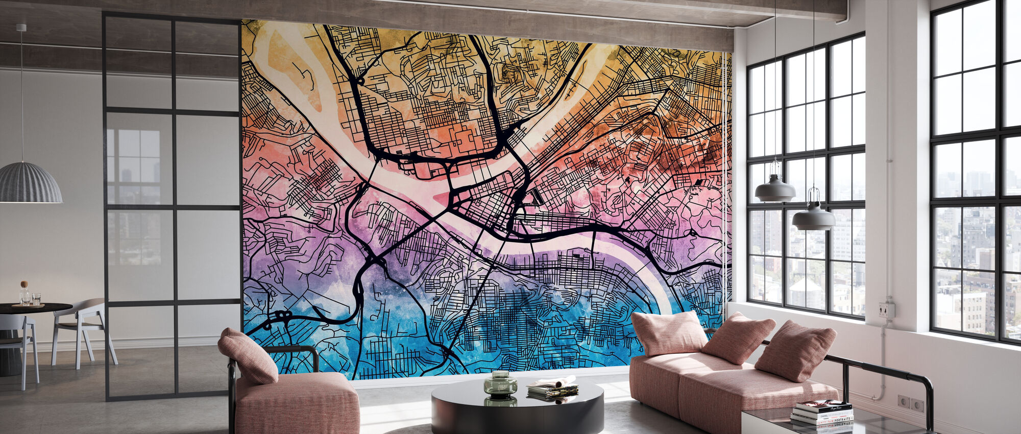 Pittsburgh Pennsylvania Street Map - Wallpaper - Office