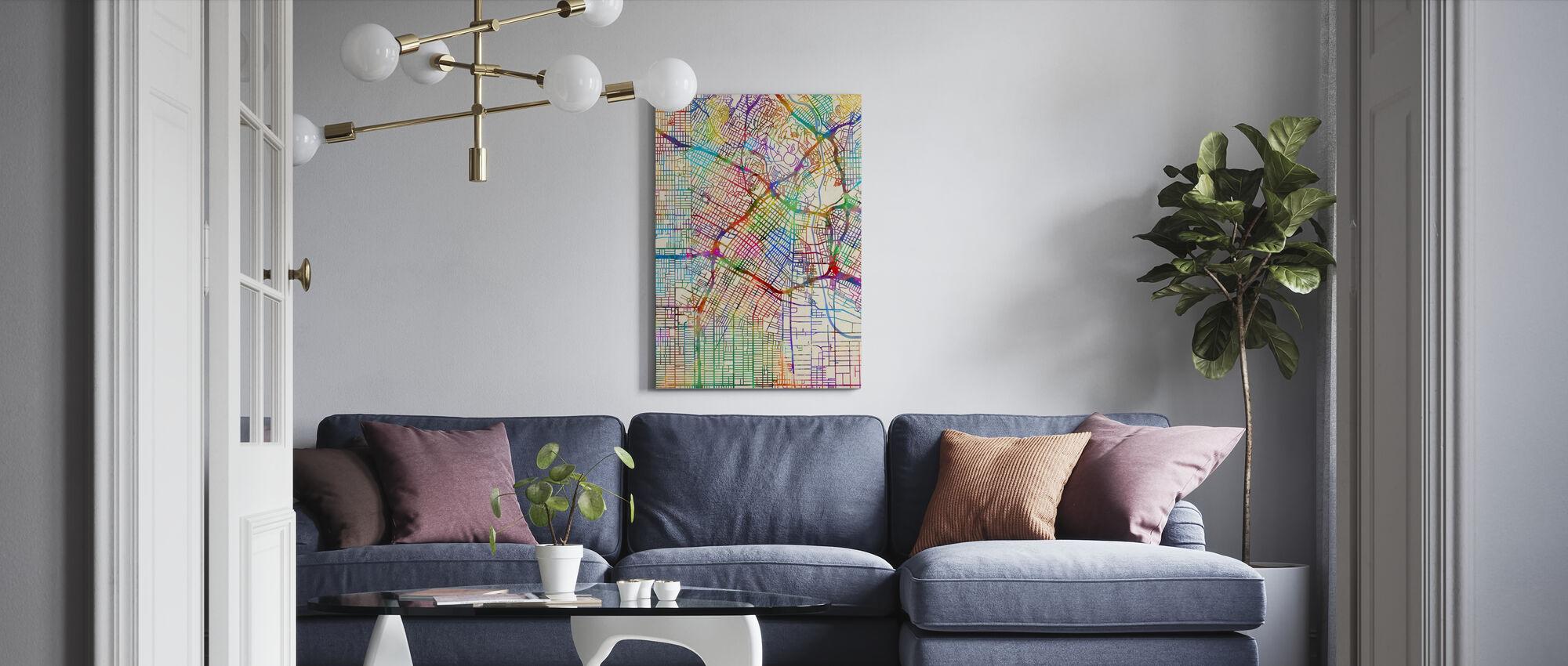 Los Angeles City Street Map - Canvas print - Living Room