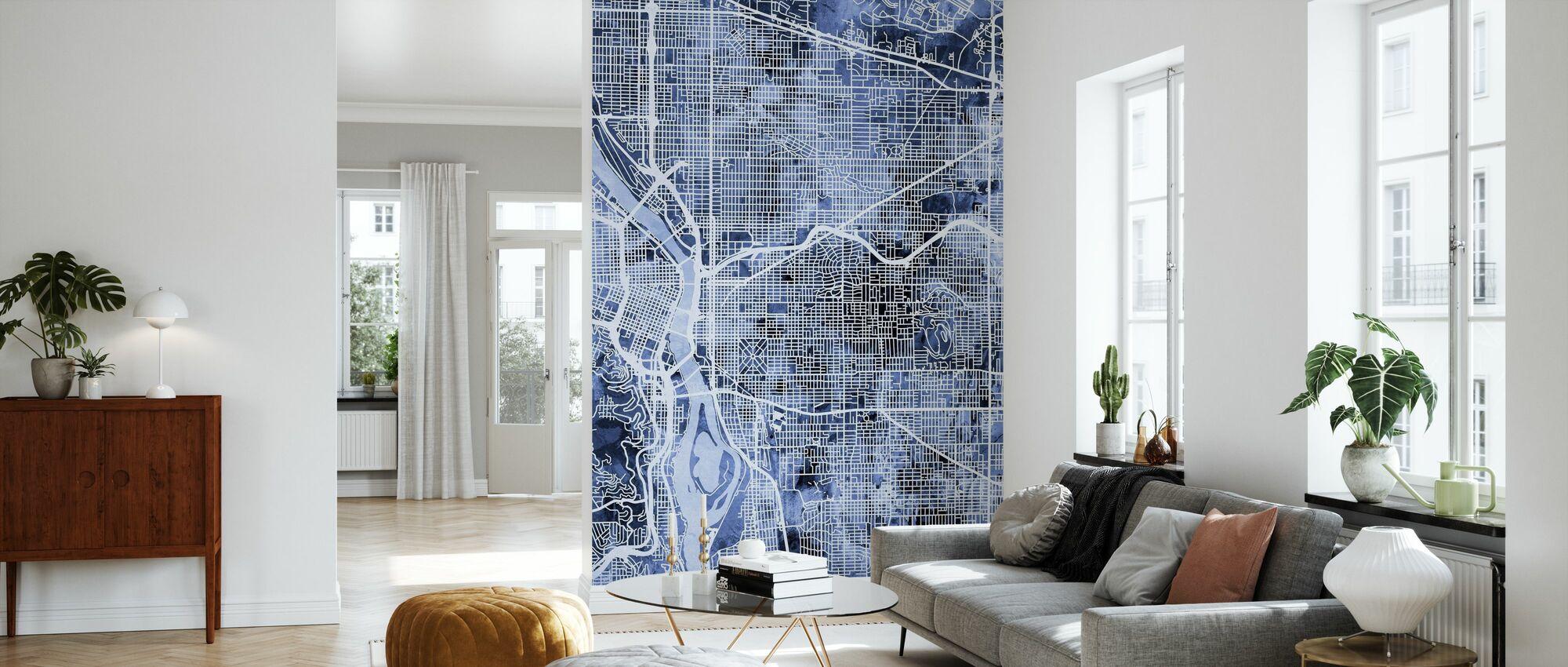 Portland Oregon City Map - Wallpaper - Living Room