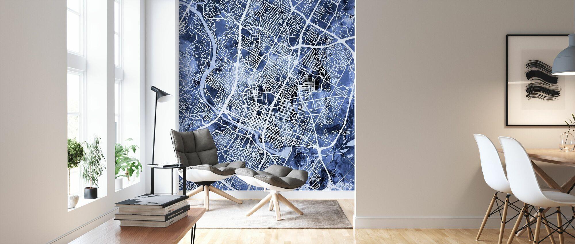 Austin Texas City Map - Wallpaper - Living Room