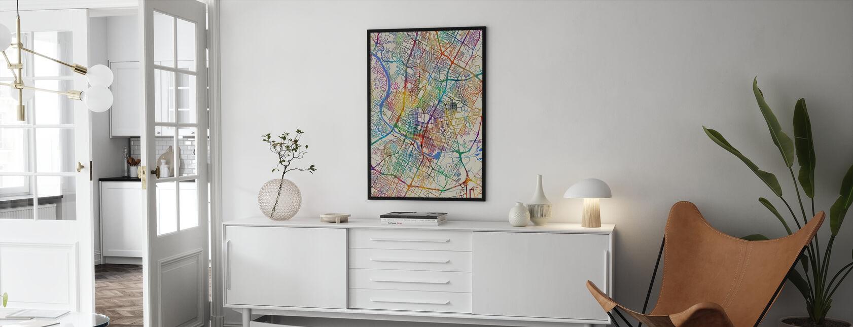 Austin Texas City Map - Framed print - Living Room