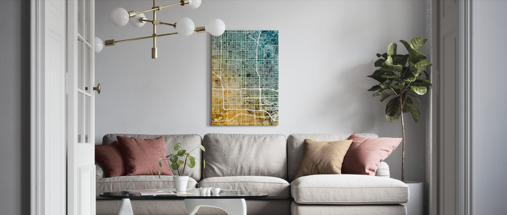 Phoenix Arizona City Map - Canvas print - Living Room