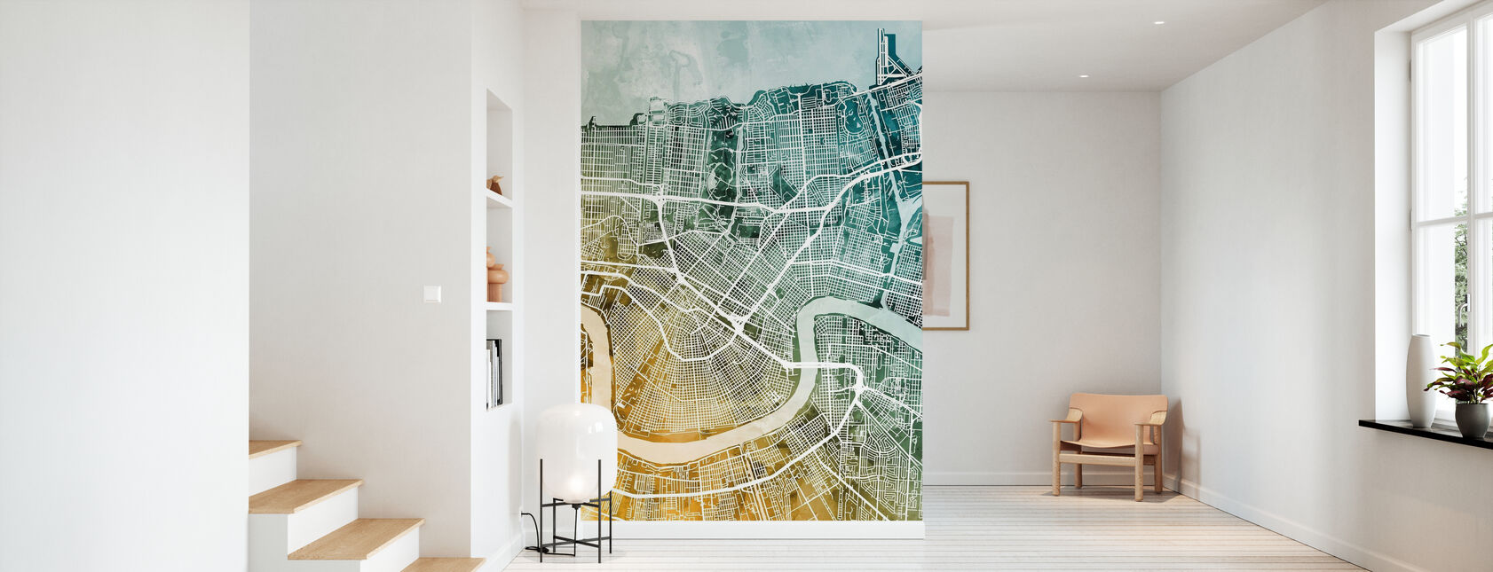 New Orleans City Street Map - Wallpaper - Hallway
