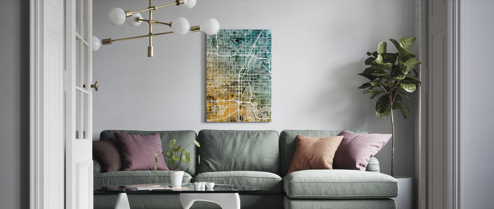 Las Vegas City Street Map - Canvas print - Living Room
