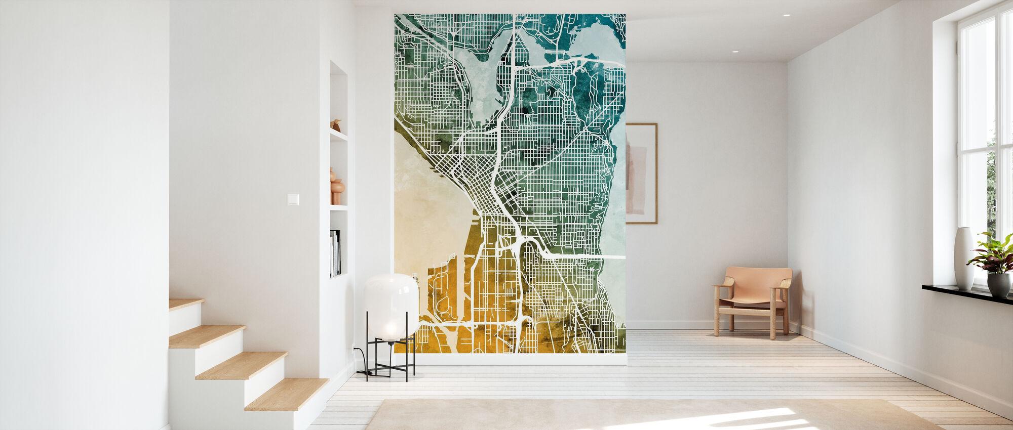Seattle Washington Street Map - Wallpaper - Hallway
