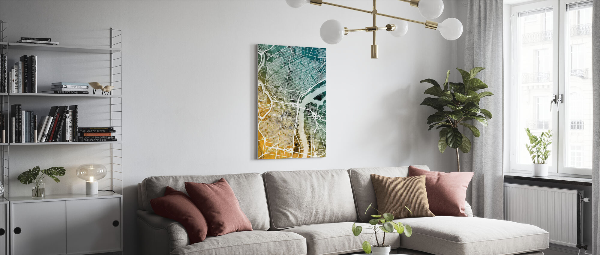 Philadelphia Pennsylvania Street Map - Canvas print - Living Room