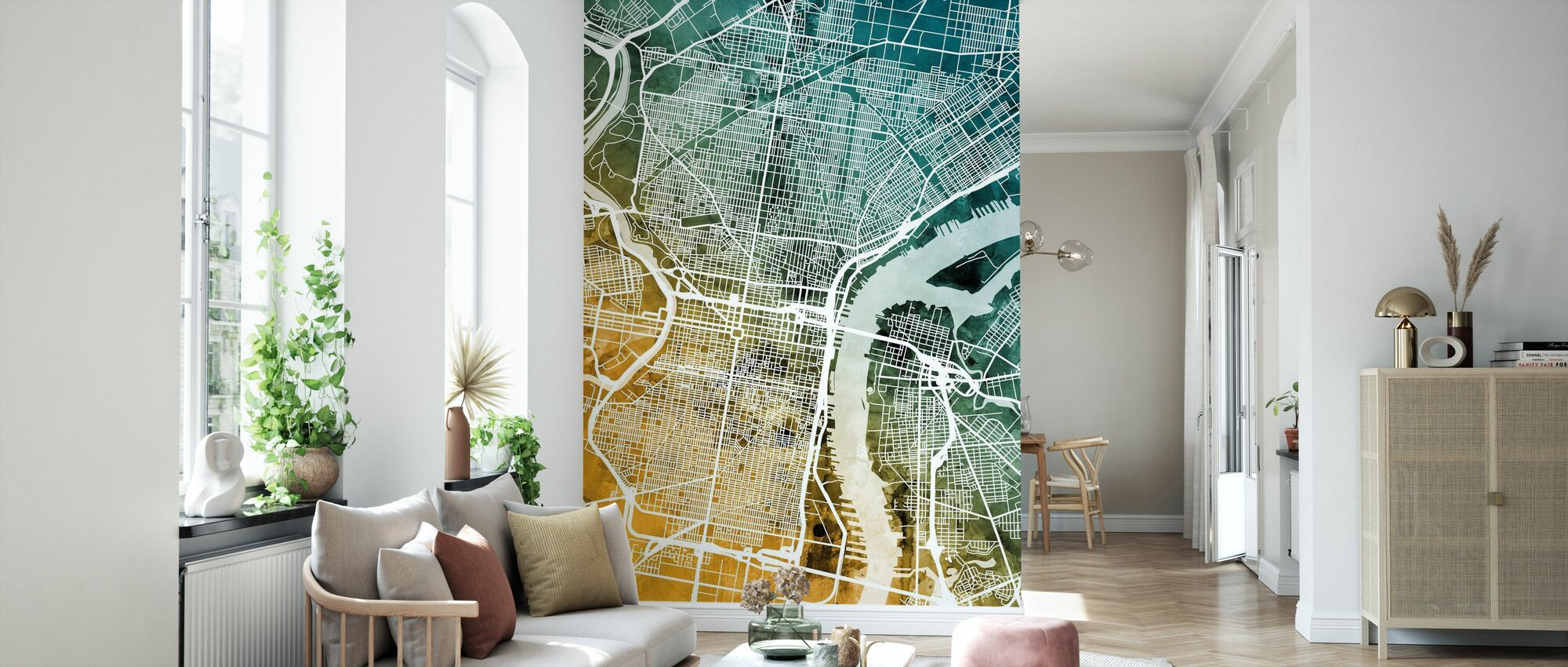 Philadelphia Pennsylvania Street Map - Wallpaper - Living Room