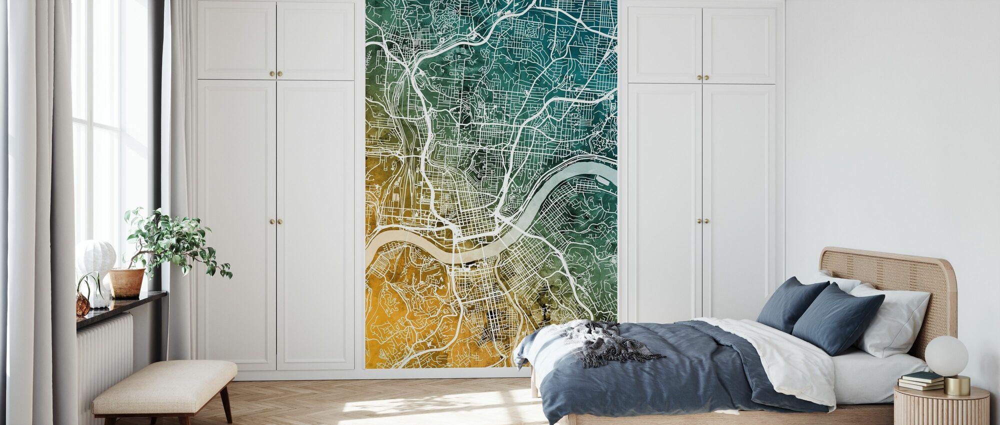 Cincinnati Ohio City Map - Wallpaper - Bedroom