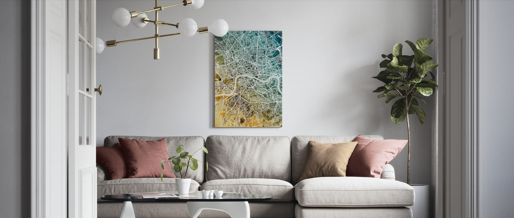 London England Street Map - Canvas print - Living Room