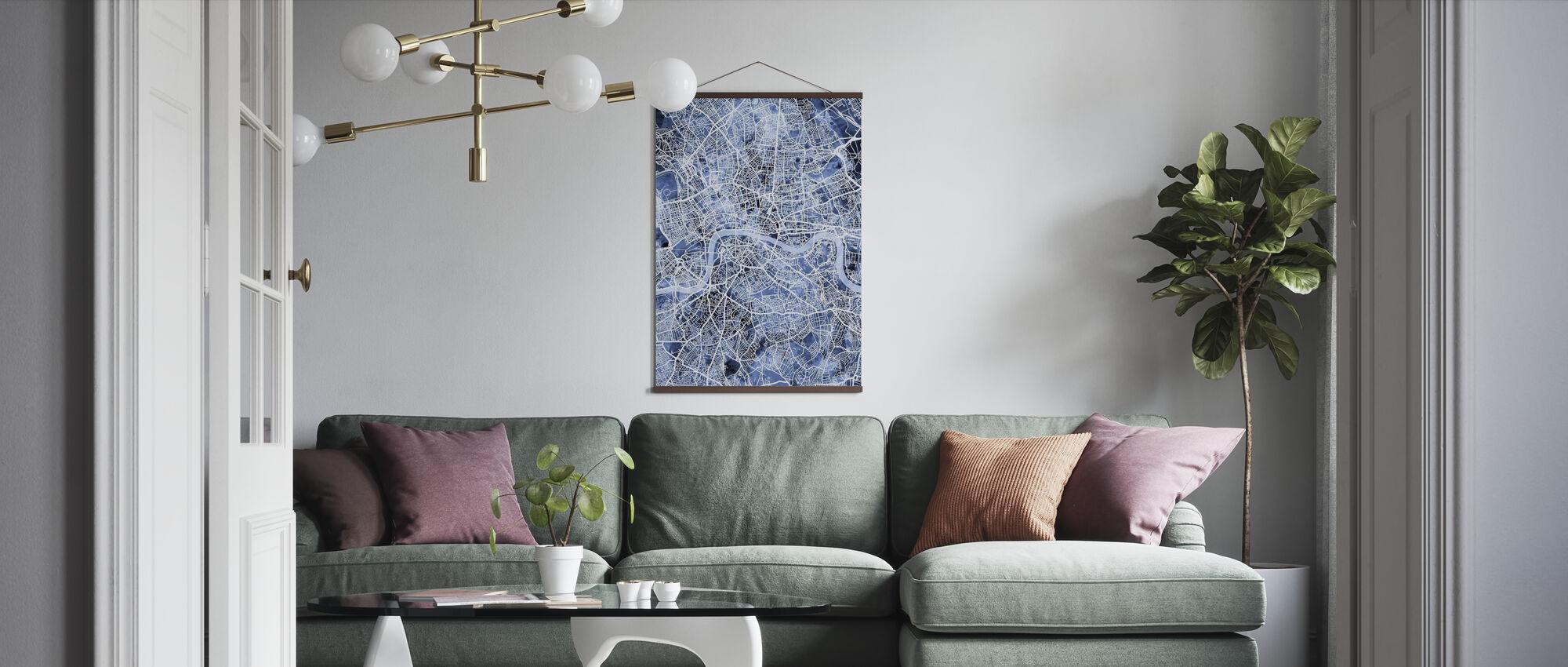 London England Street Karte - Poster - Wohnzimmer