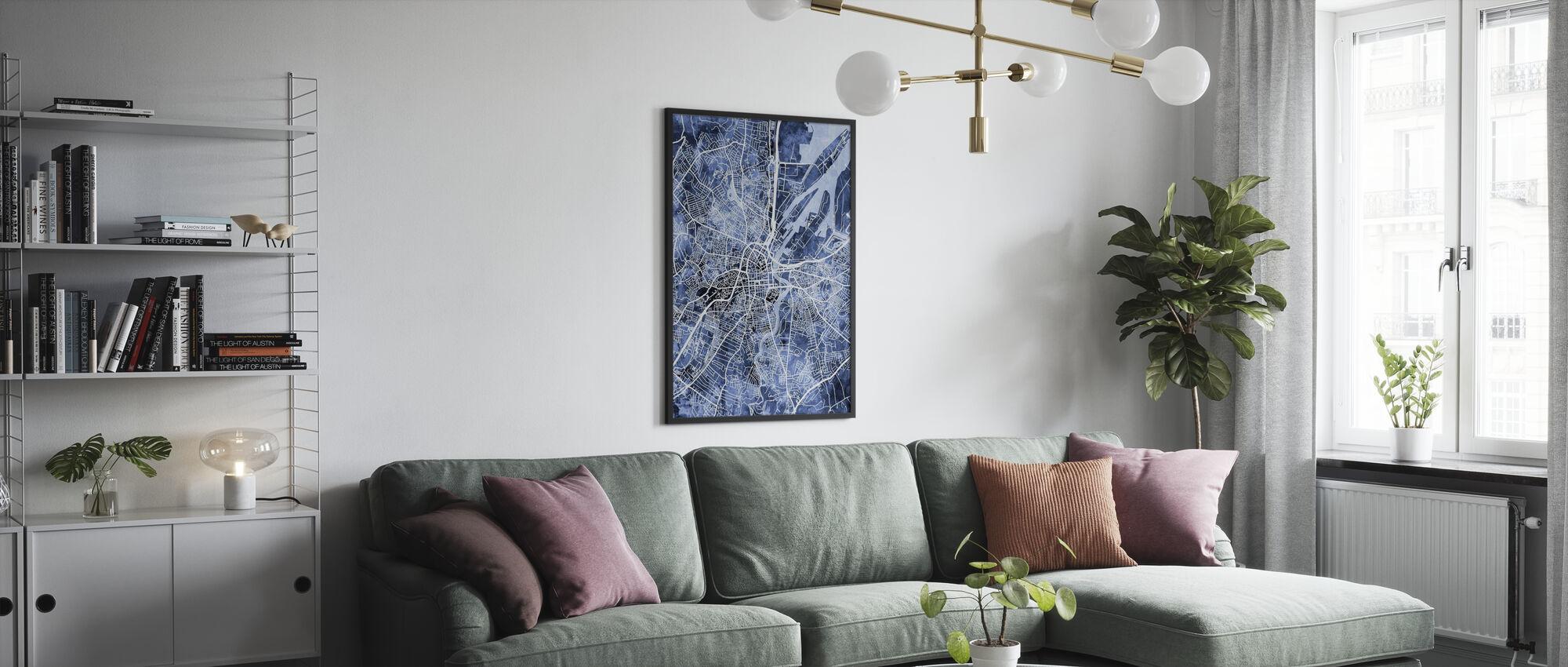 Belfast Northern Ireland City Map - Framed print - Living Room