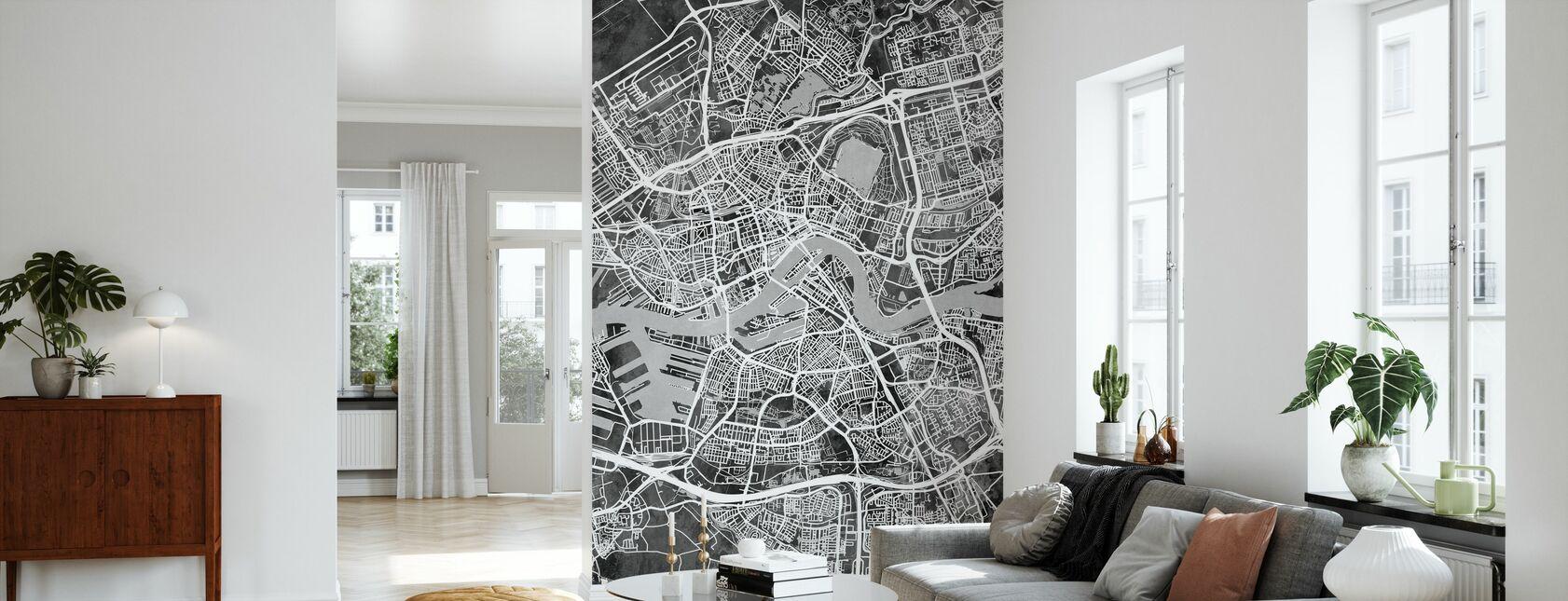 Rotterdam Nederland City Kaart - Behang - Woonkamer