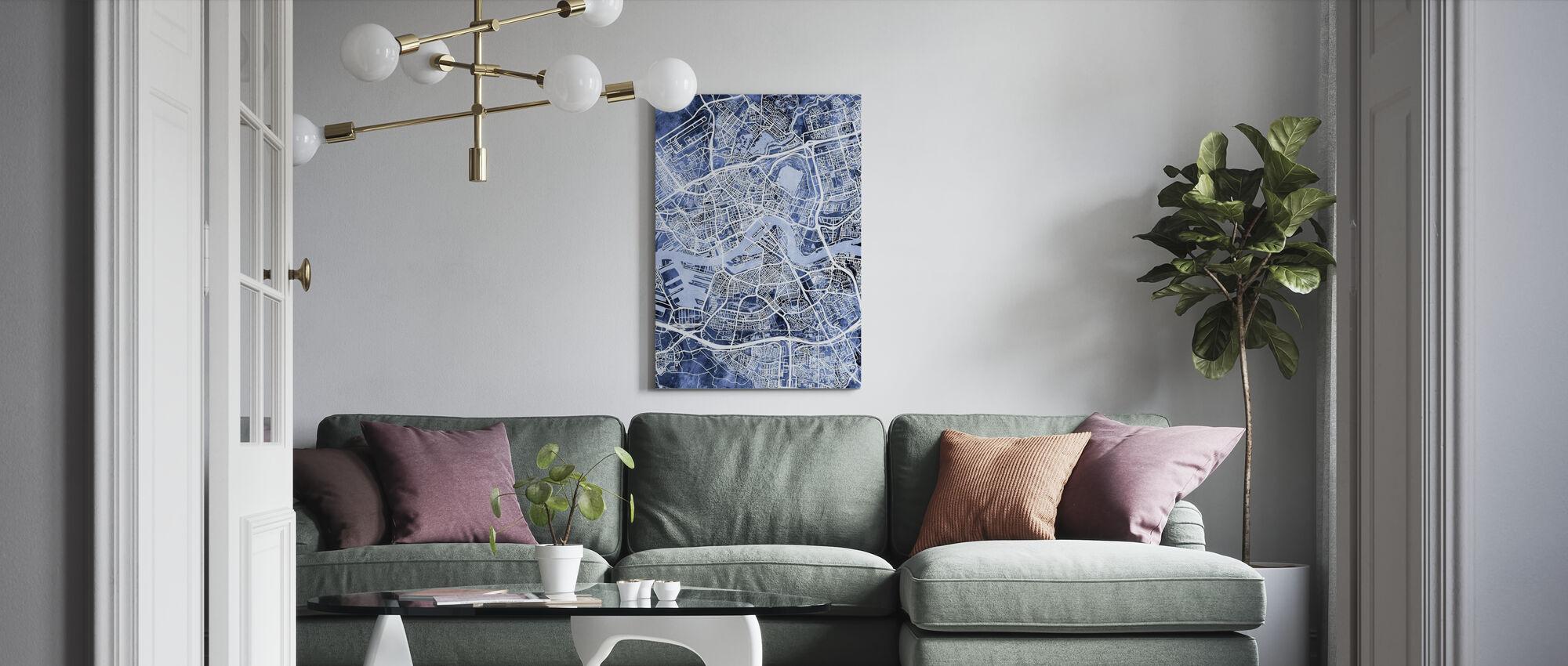 Rotterdam Niederlande Stadtplan - Leinwandbild - Wohnzimmer