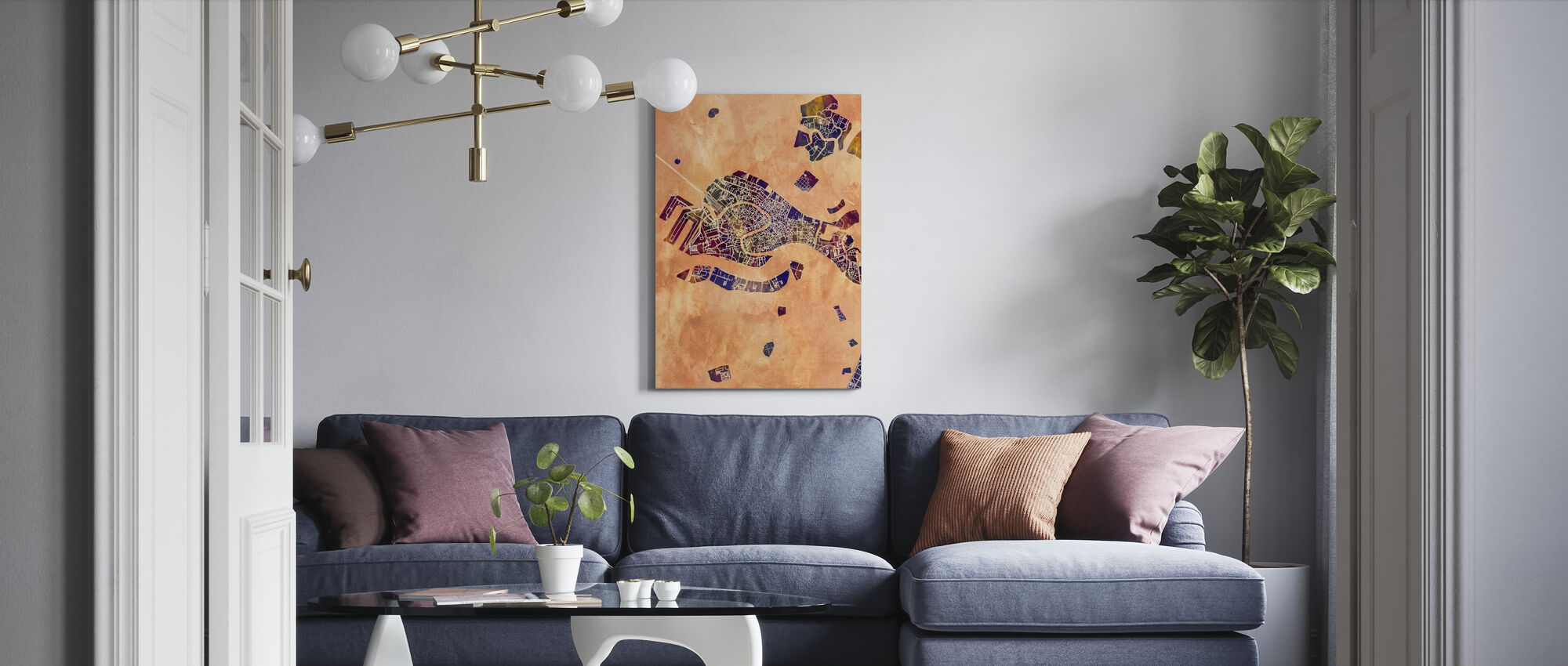 Venice Italy City Map - Canvas print - Living Room