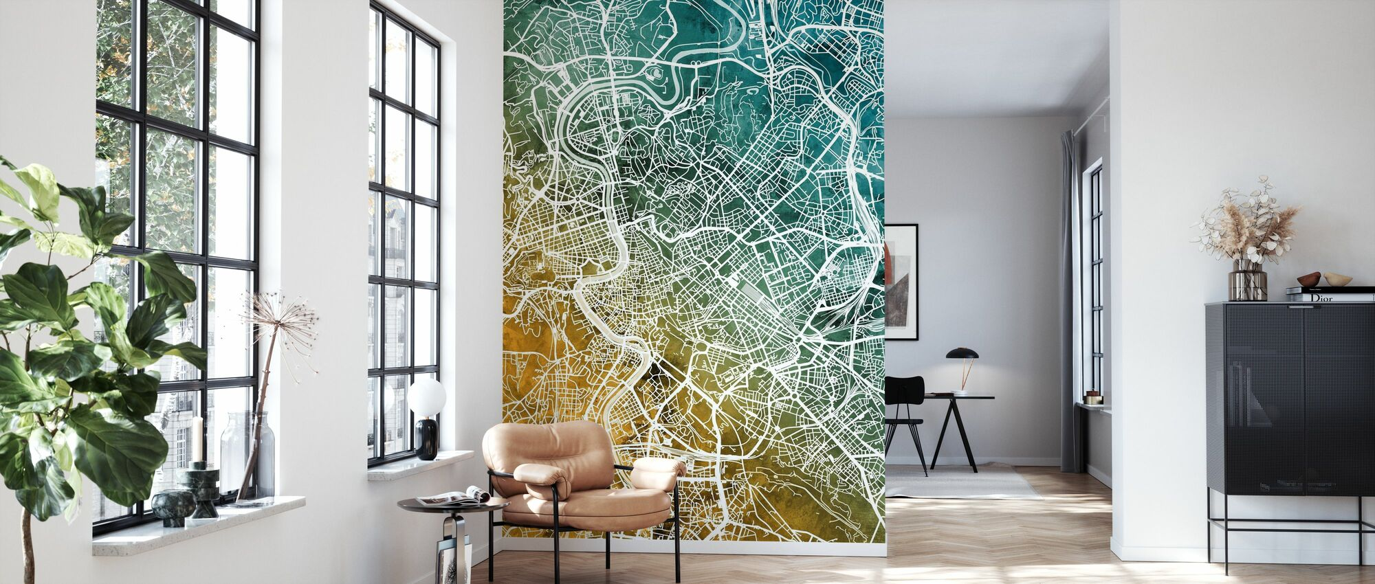 Rome Italy City Map - Wallpaper - Living Room