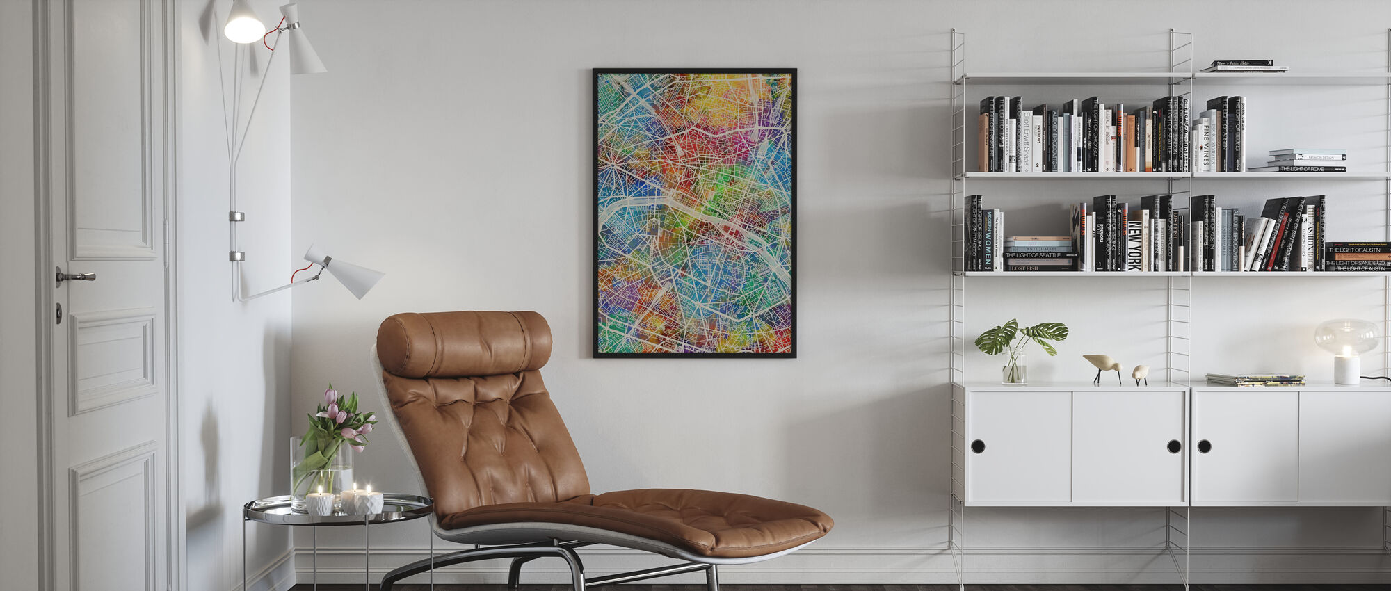 Paris France City Map - Framed print - Living Room