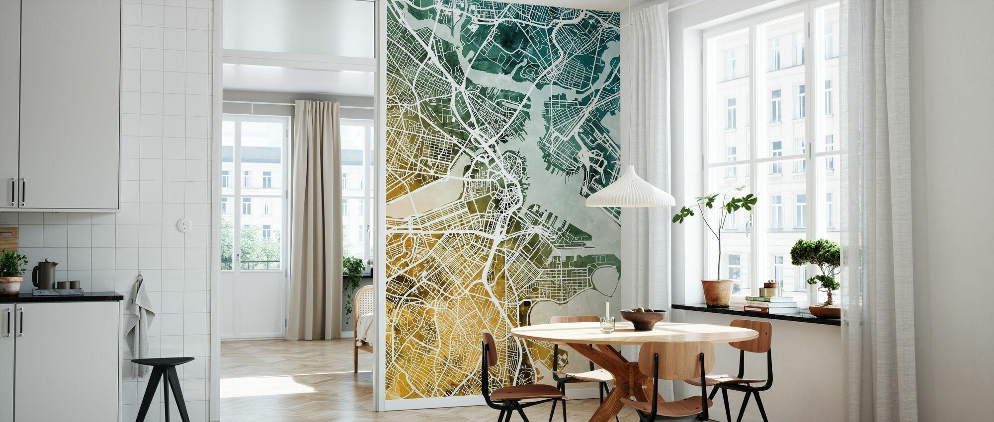 Boston Massachusetts Street Kartta - Tapetti - Keittiö