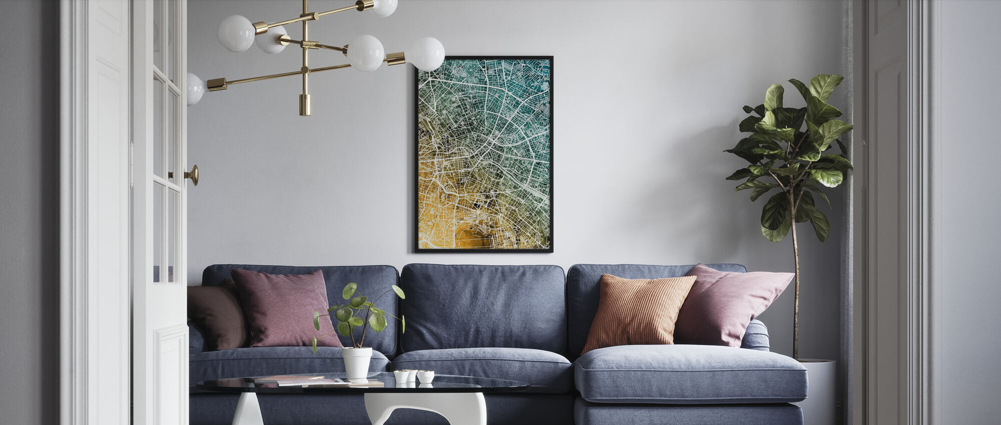 Berlin Germany City Map - Framed print - Living Room