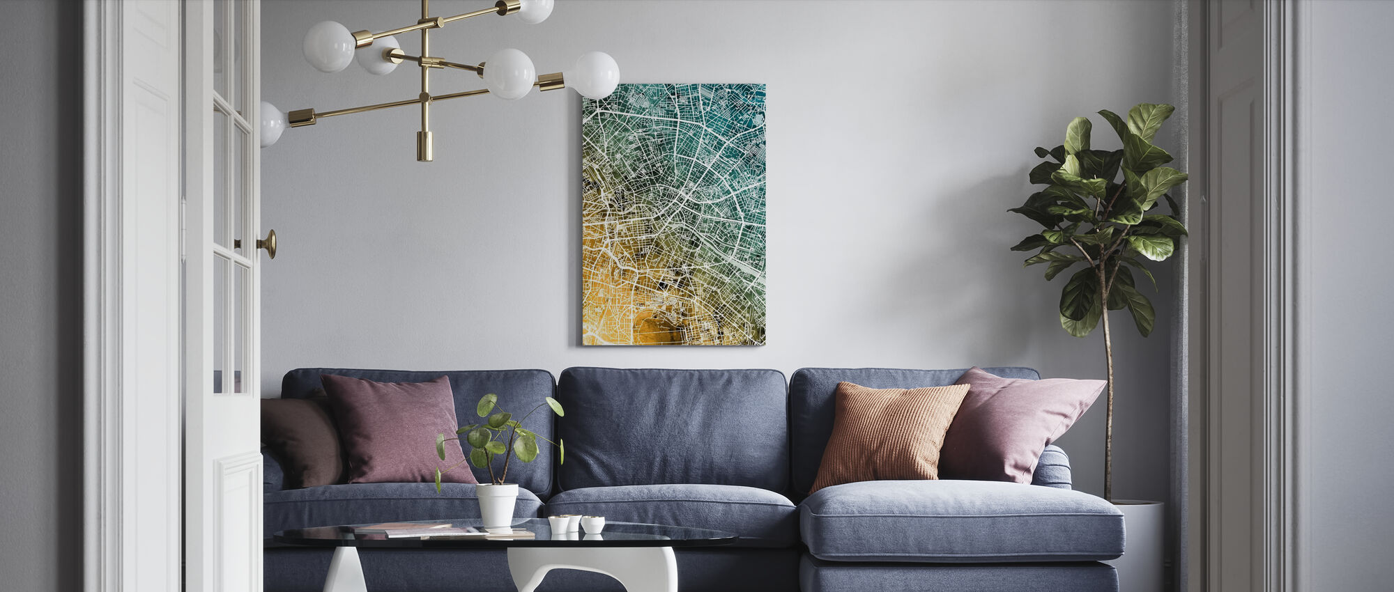 Berlin Germany City Map - Canvas print - Living Room